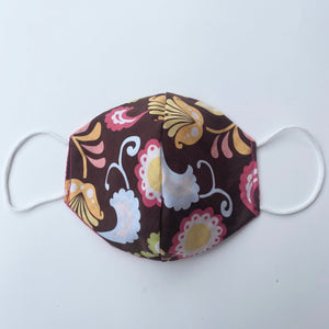 Tessa Reversible Face Mask Brown Floral/Pink Brocade