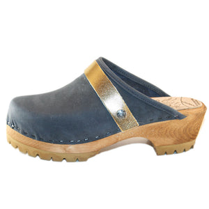 Denim Blue Mountain Clogs with Gold Snap Strap