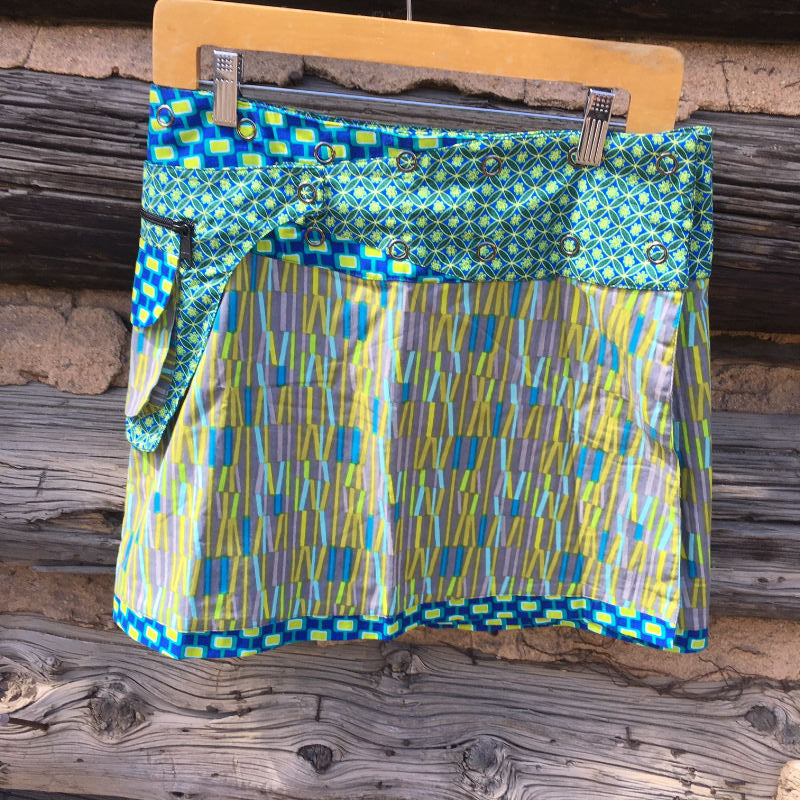 Asha Reversible Wrap Skirt - Turquise/Green