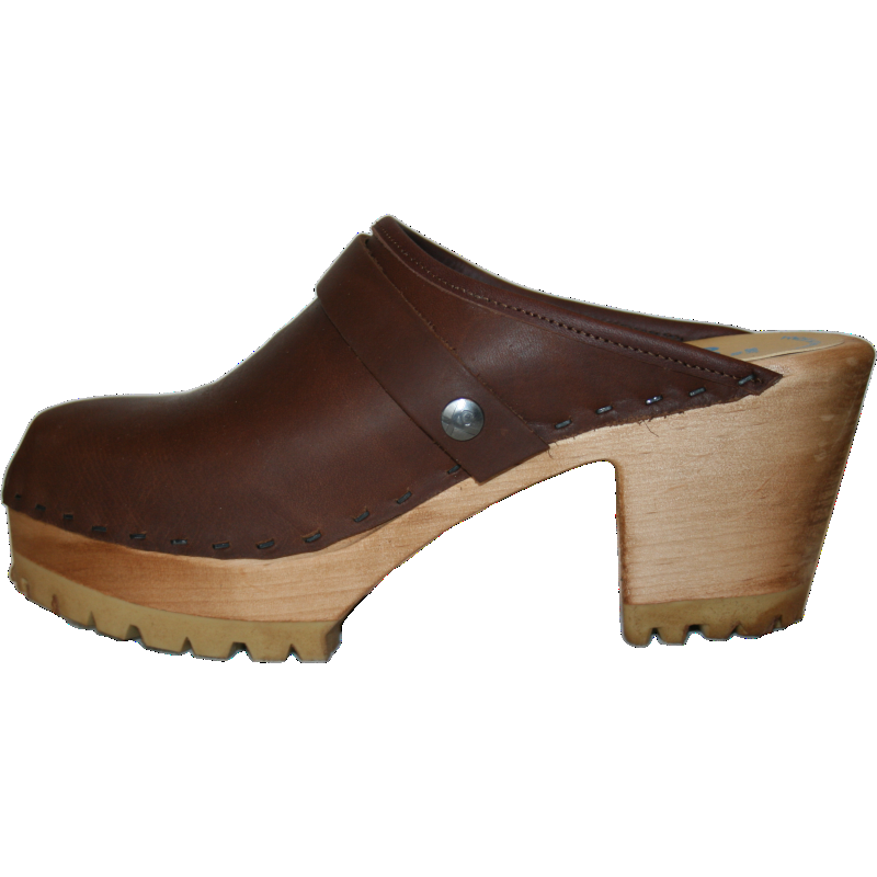 Brown Oil High Heel Mountain Custom made Clogs