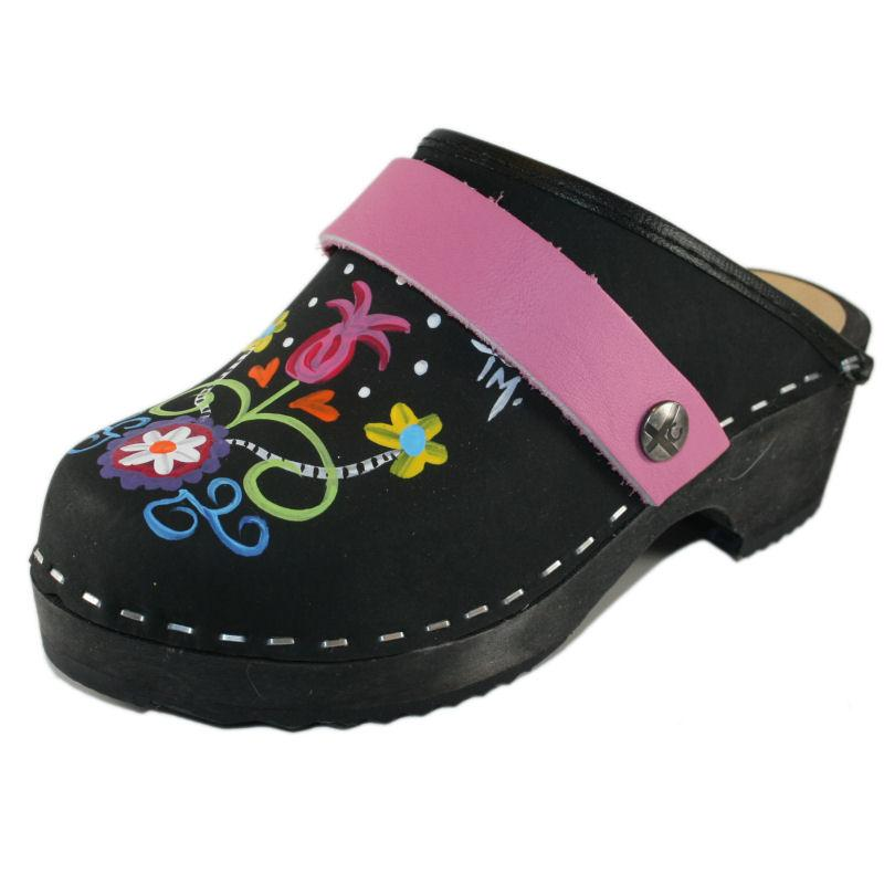 Kid's Tessa Black Oil Rebecca hand painted Clog