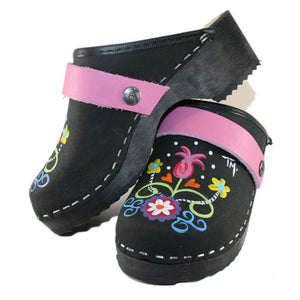 Kid's hand painted Black Oil Rebecca Tessa Clogs