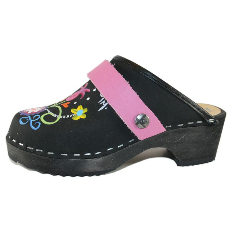 Tessa Kid's hand painted Black Oil Leather with Rebecca design Clog