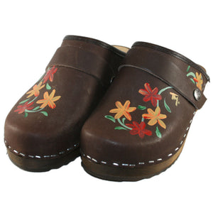 Tessa Hand Made & Painted Brown Oil Axelina Clogs