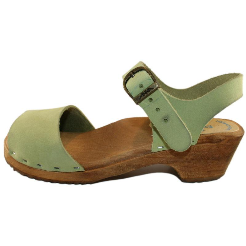 Tessa Children's Malaina Open Toe Sandal in Lime Green Suede