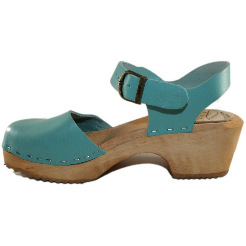 Tessa Children's Moa Sandal Clog in an Aqua Leather