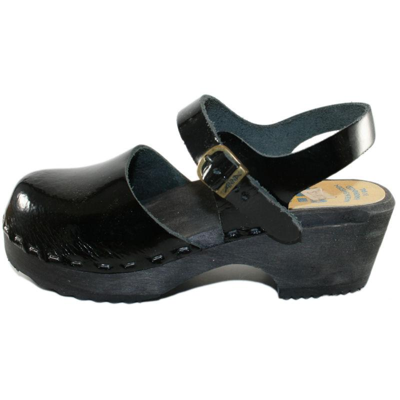 Tessa Children's Moa Sandal Clog in a Black Patent Leather