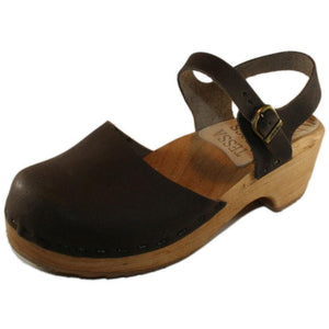 Tessa Children's Closed Toe Moa Sandal in Brown Oil