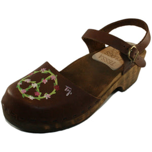 Tessa Children's hand painted Peace Sign on Brown Oil Moa Sandal