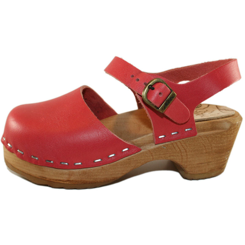 Tessa Children's Moa Sandal Clog in a Coral Red Leather