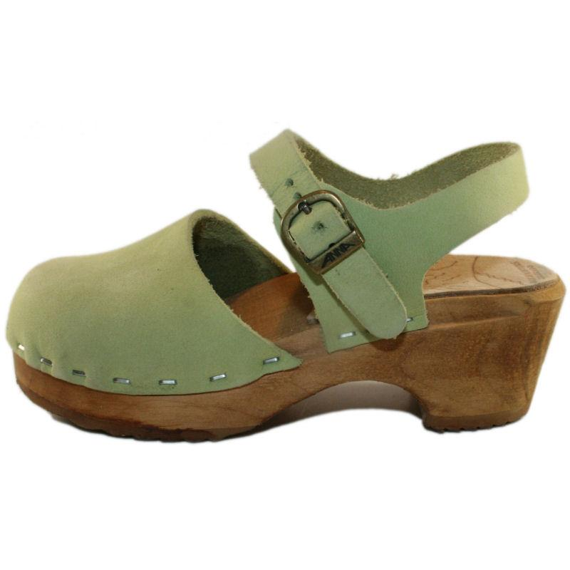 Tessa Children's Closed Toe Moa Sandal in Lime Green Suede