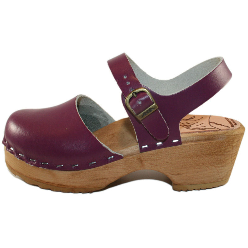 Tessa Children's Moa Sandal Clog in a Purple Leather
