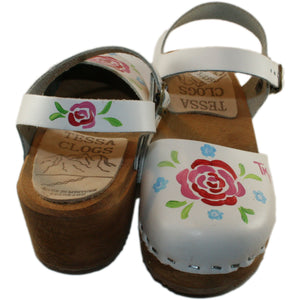 Tessa Children's White hand painted Matilda Moa Sandal