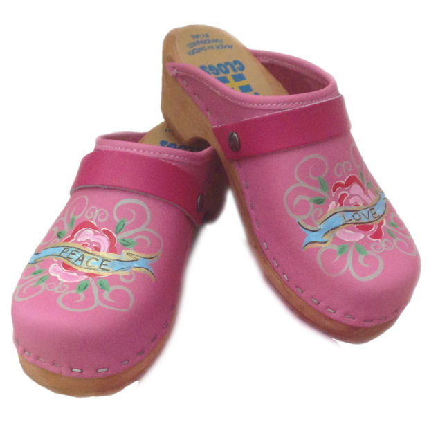 Kid's Tessa hand painted Pink Peace & Hope Clogs