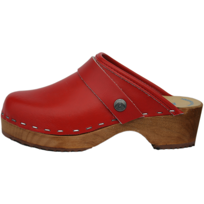 Tessa Children's Natural Stain Sole with Red Leather uppers