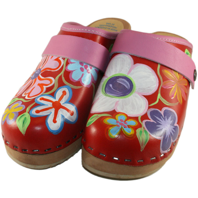 Tessa Kid's hand painted Red Christy Clog