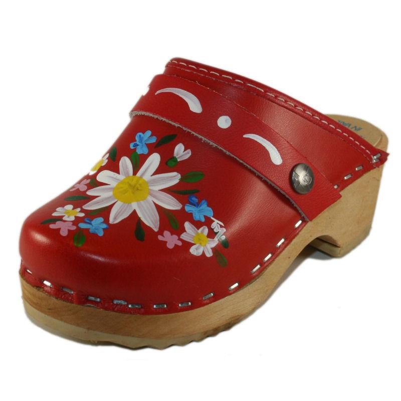 Children's Hand Painted Red Malin Tessa Clog - a classic