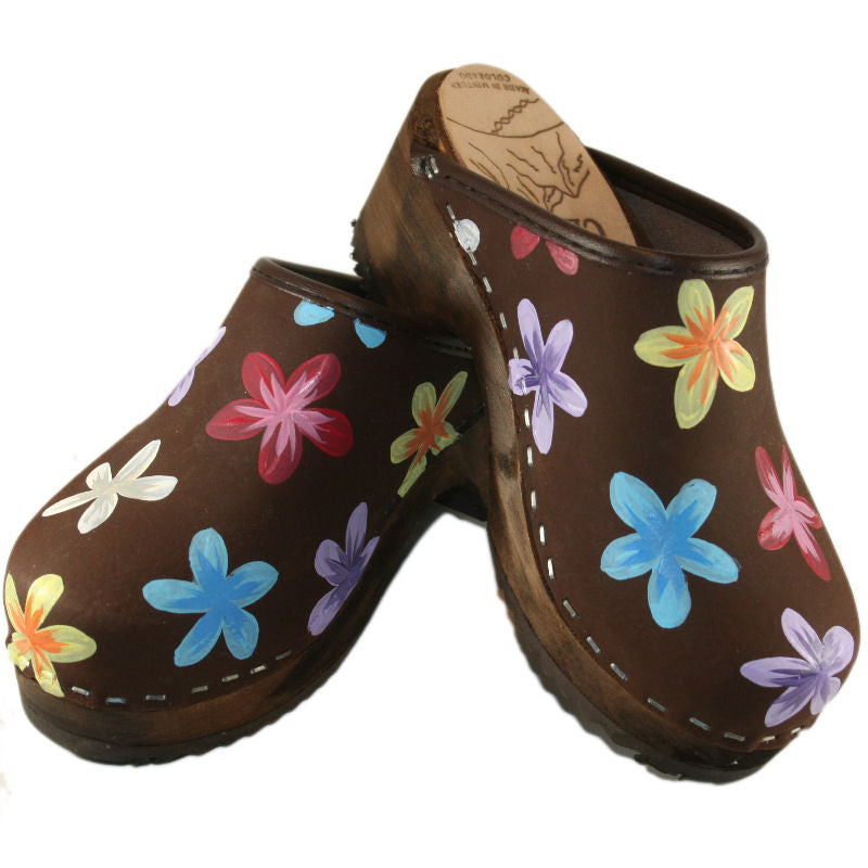 Kid's Brown Oil Annika Traditional Heel Hand Painted Clogs