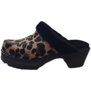 Leopard Printed Pony Shearling Lined Mountain Clogs