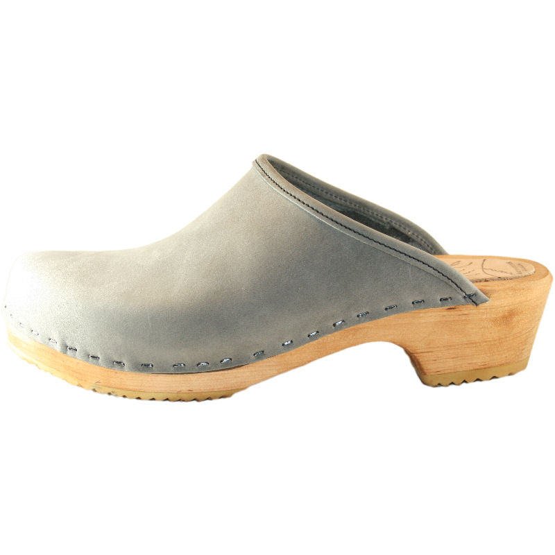 Light Gray Leather on a Traditional Heel