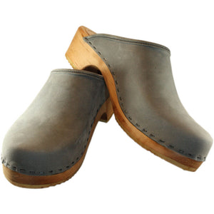 Gray Leather Traditional Heel Men's Clog