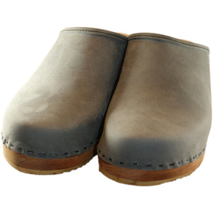 Traditional Heel Gray  Leather  Plain Clog