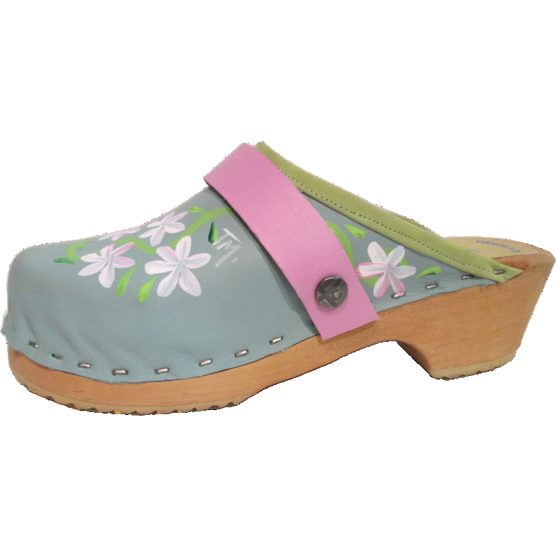 Children's hand painted Tessa Clogs in our Turquoise Axelina design
