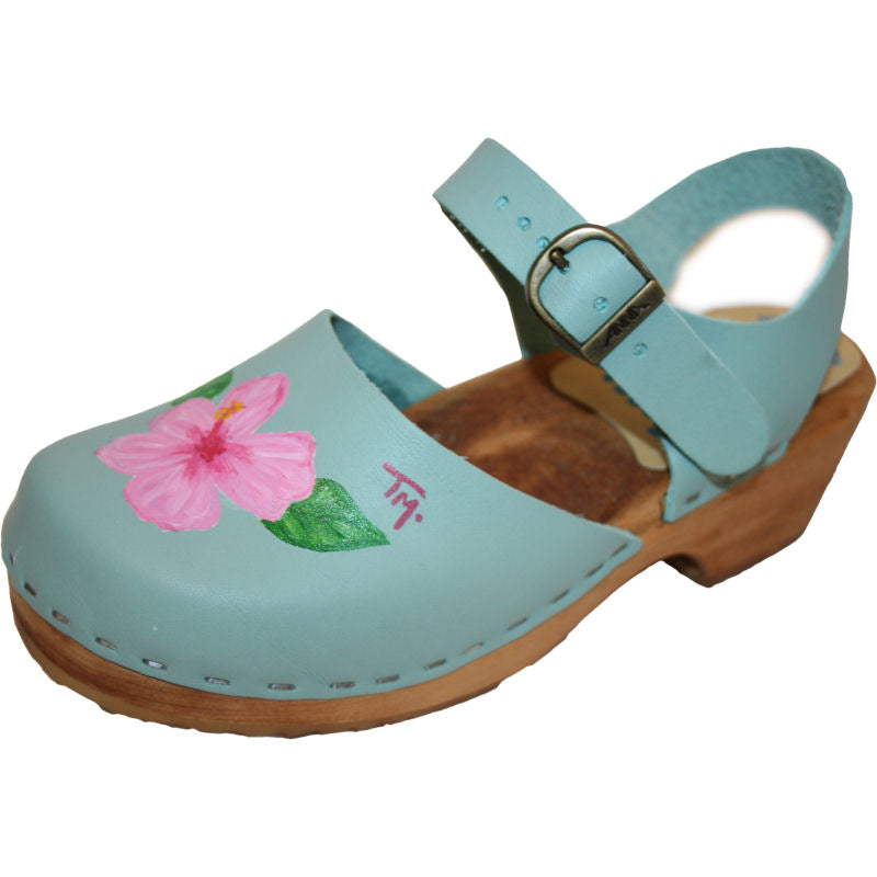 Tessa Clogs in a Kid's hand painted Avery design on Moa Sandal