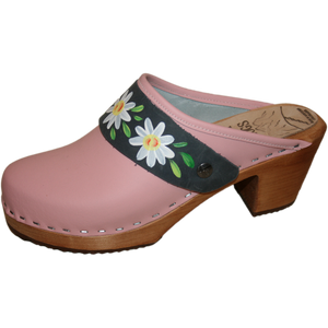 Light Pink High Heel with hand painted Denim Daisy Strap