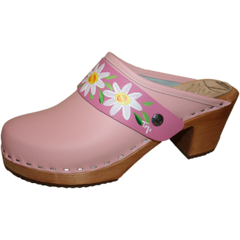 High Heel Light pink Clog with Hot Pink Daisy Strap