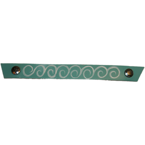 Narrow Light Turquoise with Hand Painted White Swirl Snap Strap