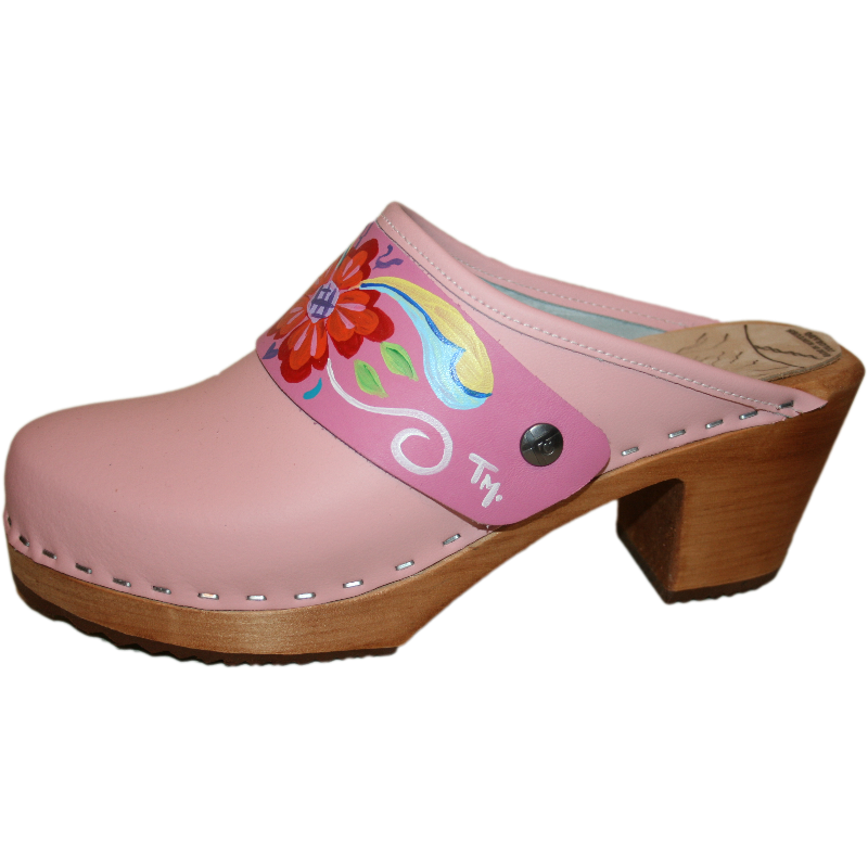 High Heel Light pink with hand painted Hot Pink Petra Snap Strap