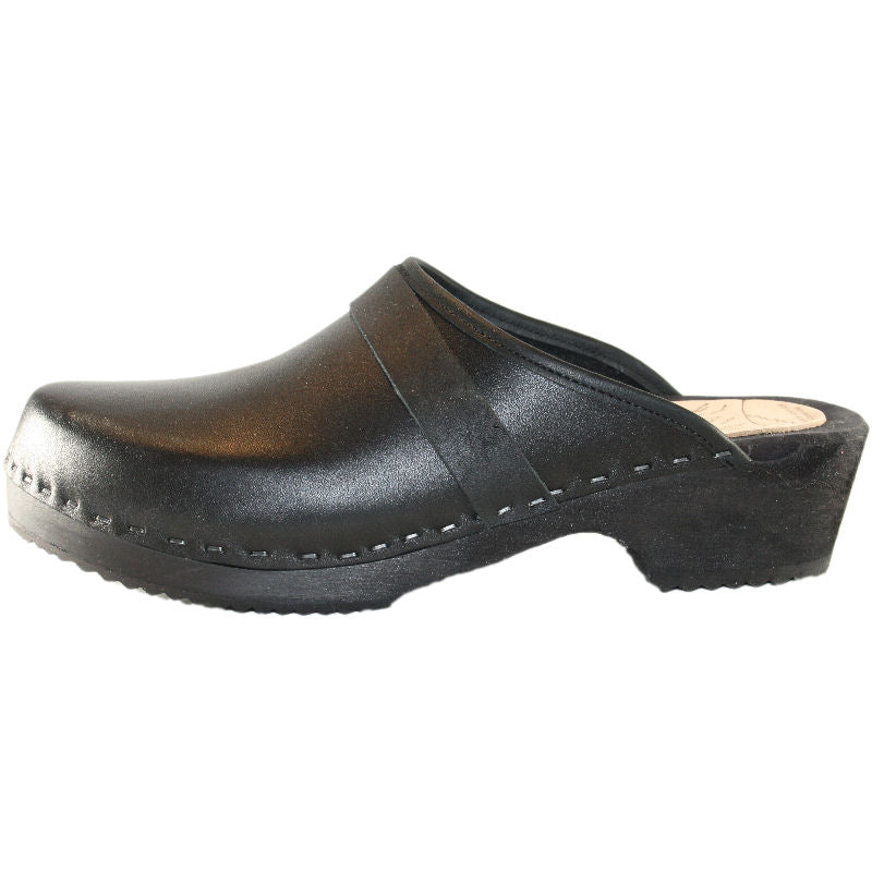 Black Leather Men's Clog