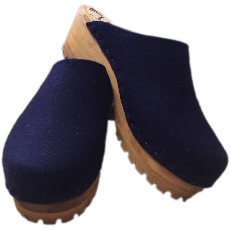 Mountain Clogs in Midnight Blue Felt Wool