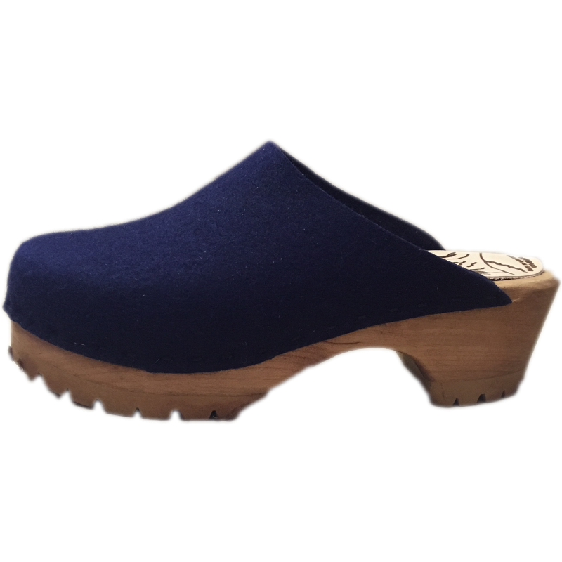 Midnight Blue Felt Wool Mountain Clogs
