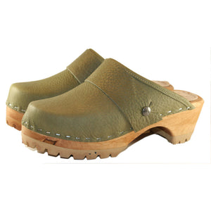 Military Olive Mountain Clogs with wide snap strap