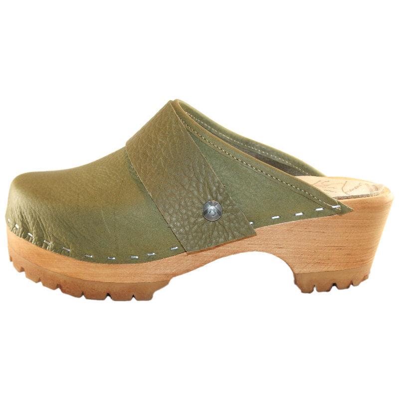 Mountain Sole Clog in military olive leather with wide snap strap