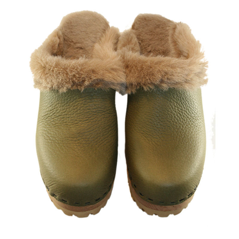 High Heel Mountain Shearling Lined Clogs in Military Olive