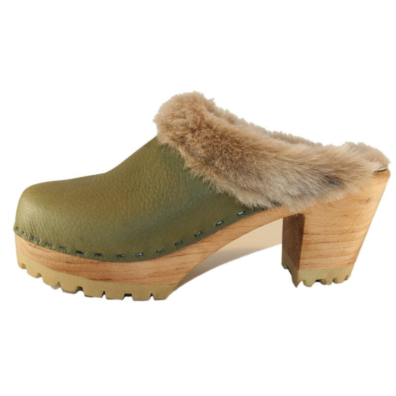 Military Olive High Heel Mountain lined with Otter Brown Shearling