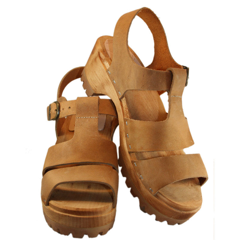 Tan Oiled Tanned Leather Tina Sandal Mountain Sole
