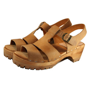 Tina Sandal in Oil Tanned Tan Leather on Mountain Sole