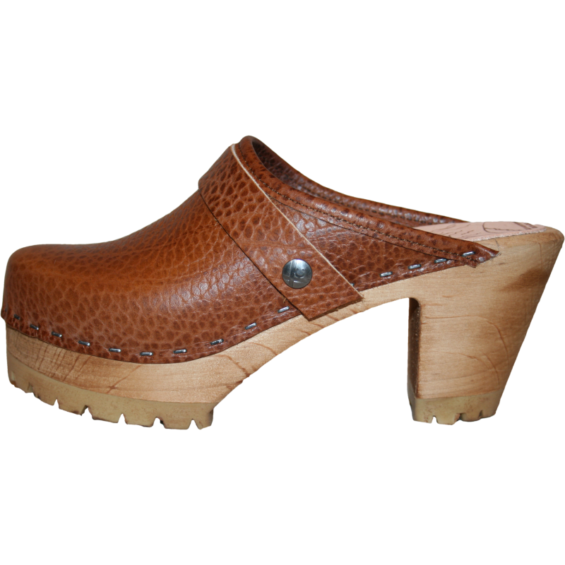 Caramel Pebbled Leather High Heel Mountain Clog