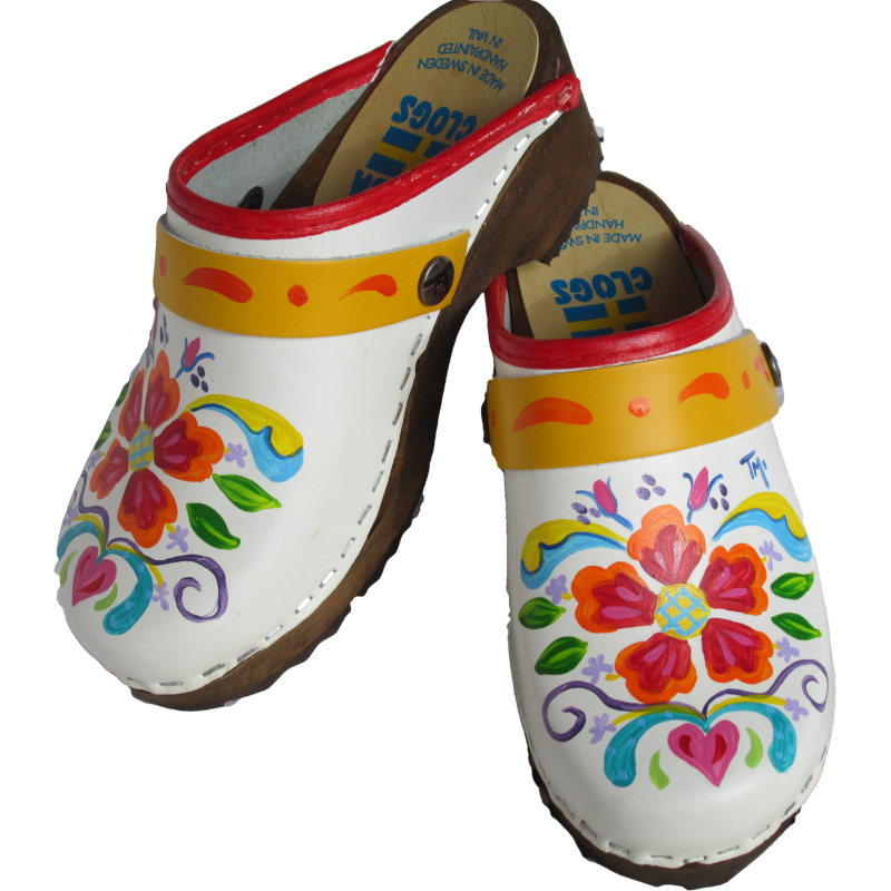 Traditional Heel White Hand painted Petra Clog