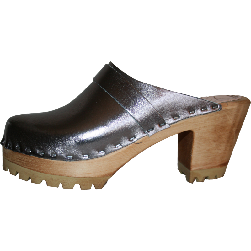 Pewter Metallic High Heel Mountain Tessa Clogs