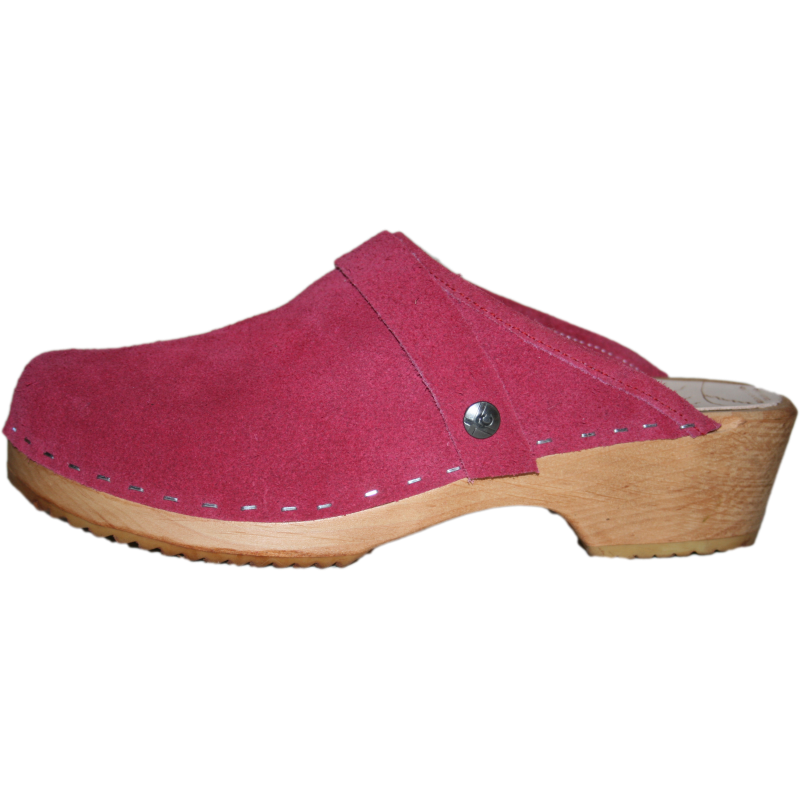 berry suede clog, traditional heel clog, swedish clog