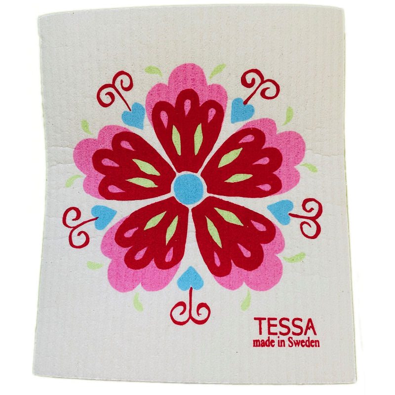 Swedish Dish Cloth with Red Rosemaling design