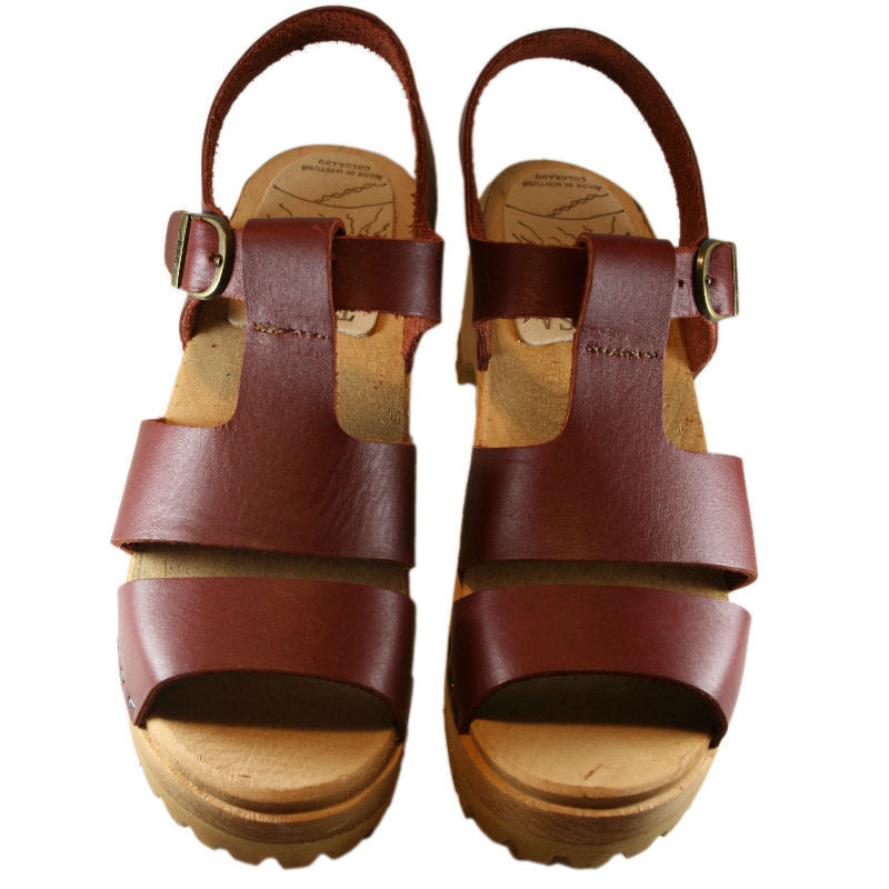 Mountain Sole Tina Sandal in Red Mahogany Leather