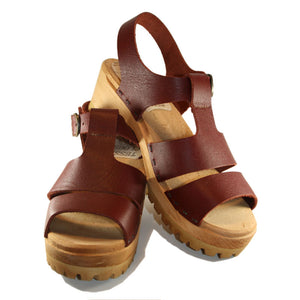 Red Mahogany  Open Toe Tina Sandal on Mountain Sole