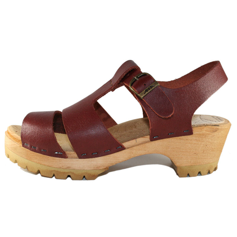 Red Mahogany Open Toe Tina Sandal on our Mountain Sole