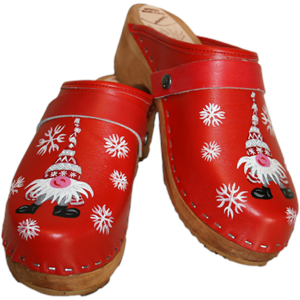 Traditional Heel Red Hand Painted Gnome Clog